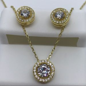 .925 sterling silver halo earring and necklace set